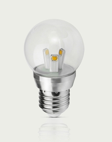 86060 3 Watt Clear LED Light Bulb Bubble Globe Shape E26 Standard Household Base
