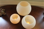 "EcoGecko Set of 3  5"", 6"" & 8"" Wax MoonSphere LED Flameless Candles with 5 Hour Timer"