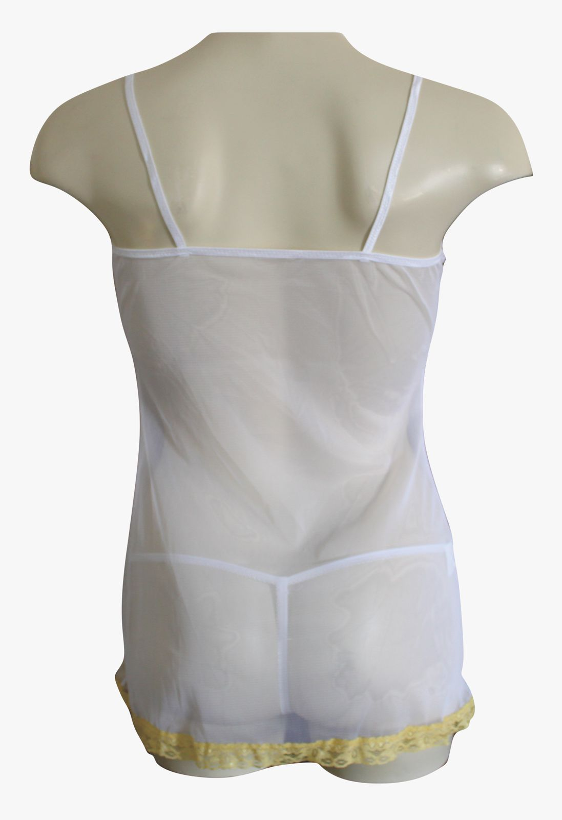 Sheer Chemise with Contrasting Lace Trim & Matching Thong