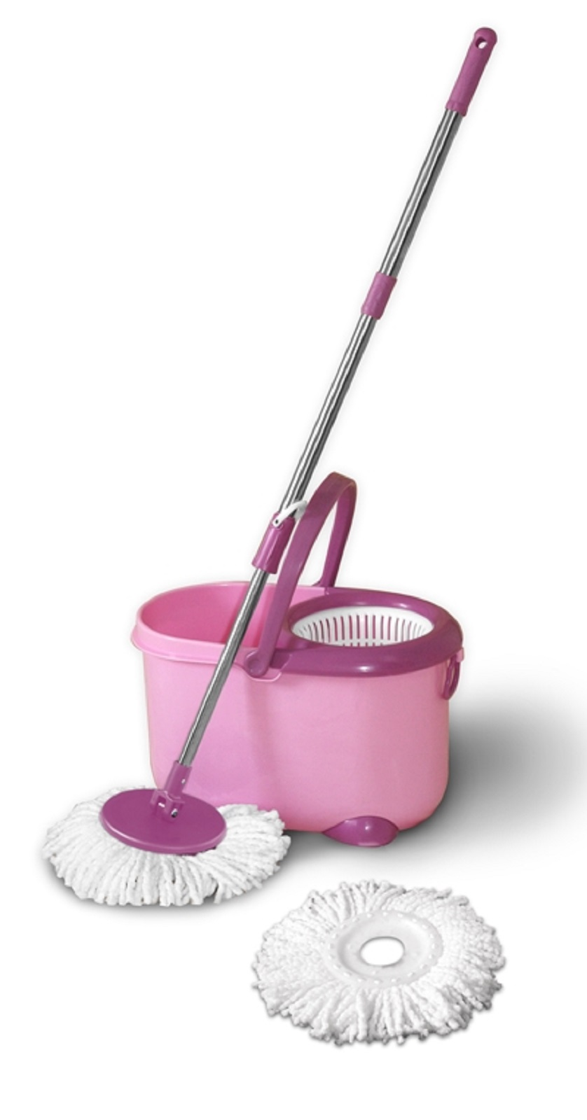 EcoGecko Deluxe Magic Mop and Spin Dry Bucket w/ 2 Mop Heads - Pink at Sears.com