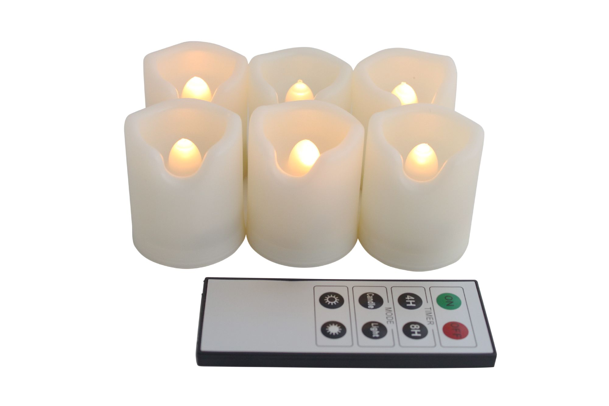 EcoGecko Set of 6 Indoor Outdoor Flameless Warm Glow Votive Candles with Remote and Timer, Battery Powered Candles, Tealights, Batteries Included