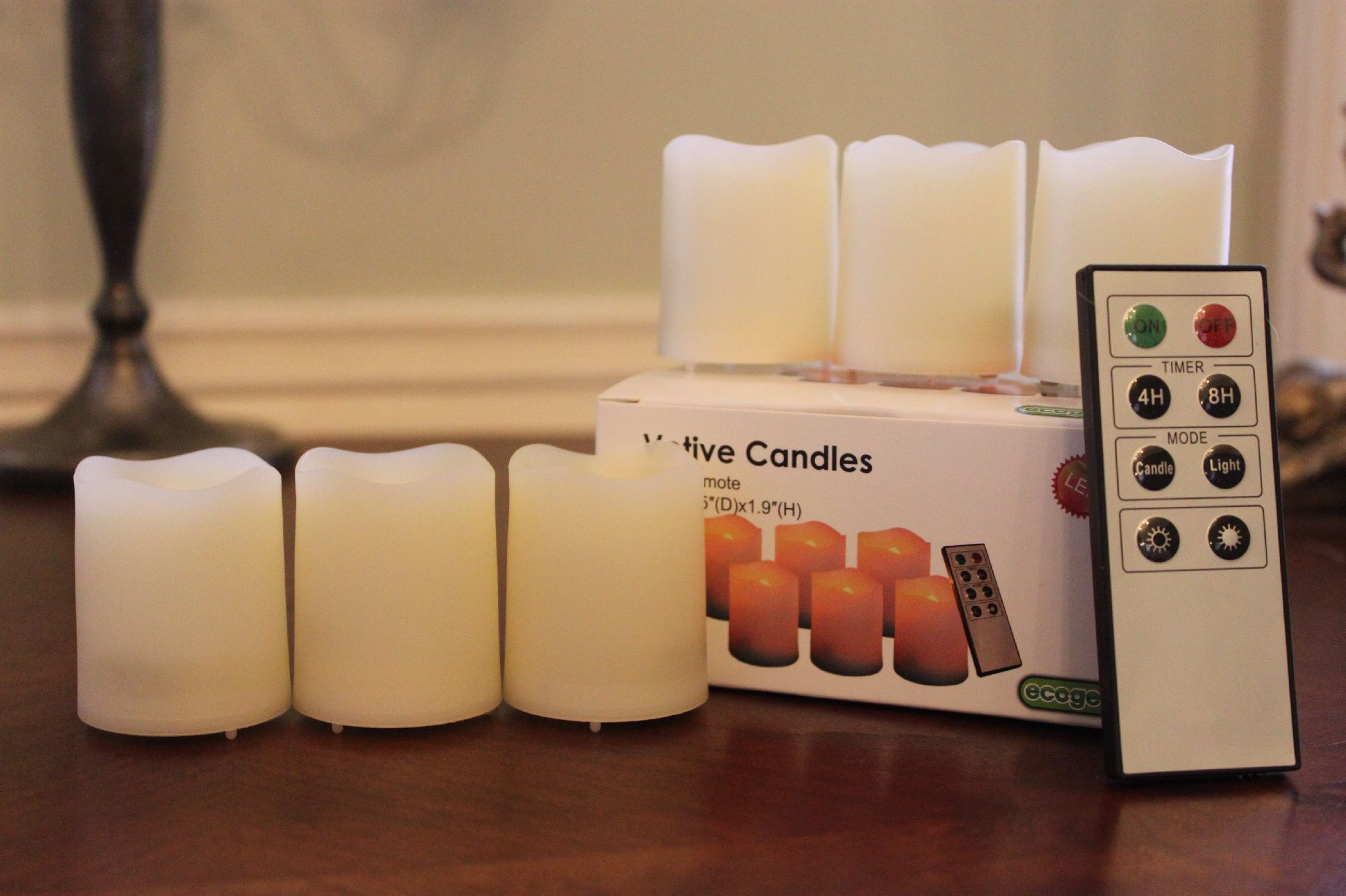 EcoGecko Indoor/Outdoor Remote Controlled Votive Flameless LED Candles, Ivory