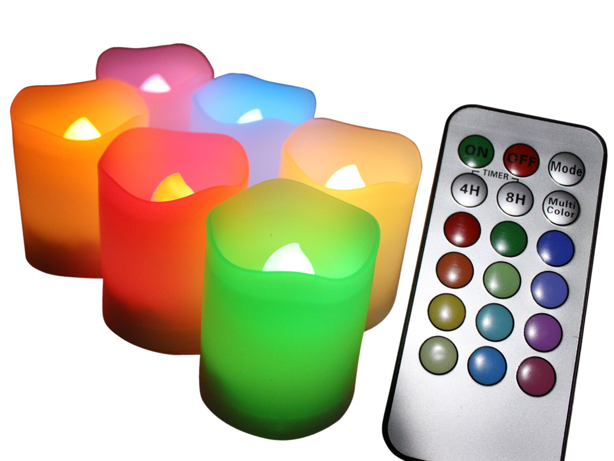 EcoGecko Indoor/Outdoor Remote Controlled Color Changing Votive Candles-Batteries Included