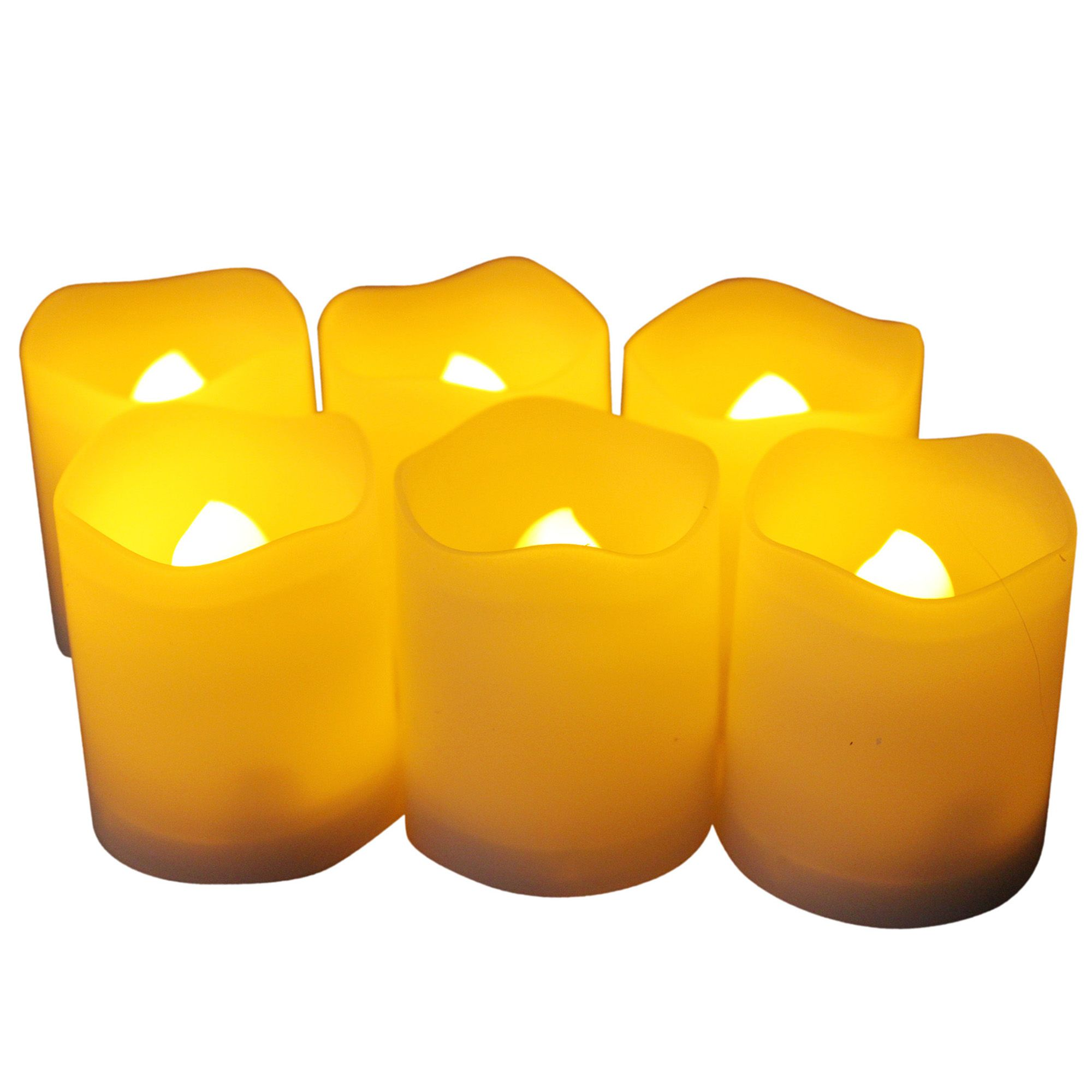 EcoGecko Set of 6 Indoor/Outdoor Votive Flameless LED Candles with Timer, 400 hour Battery Life