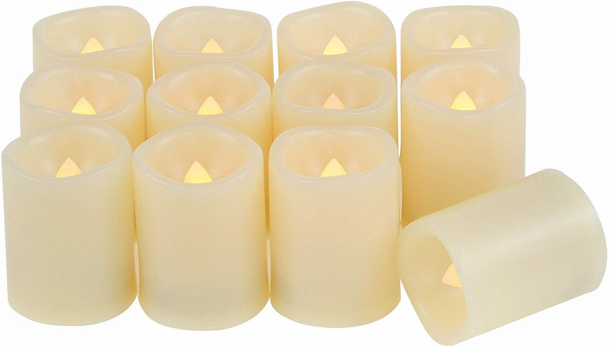 Set of 12 Round Melted Edge Votive Flameless LED Candles with Timer - Ivory