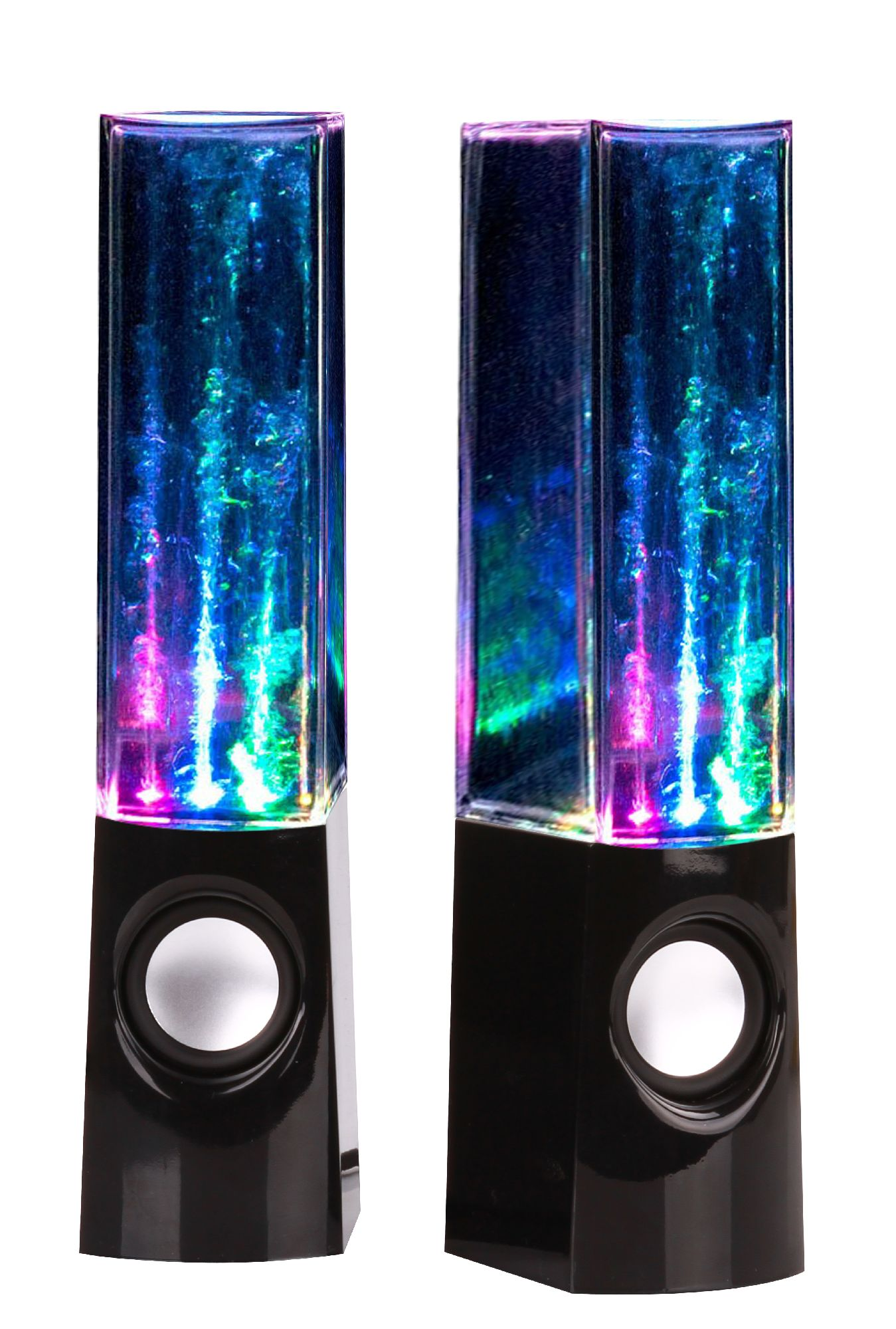 Bolan Plug & Play Multi-Color Illuminated Dancing Water Speaker Light Show Water Fountain Speakers LED Speakers 3.5mm Audio Plug, 4 Colored LED Lights, Portable Speakers