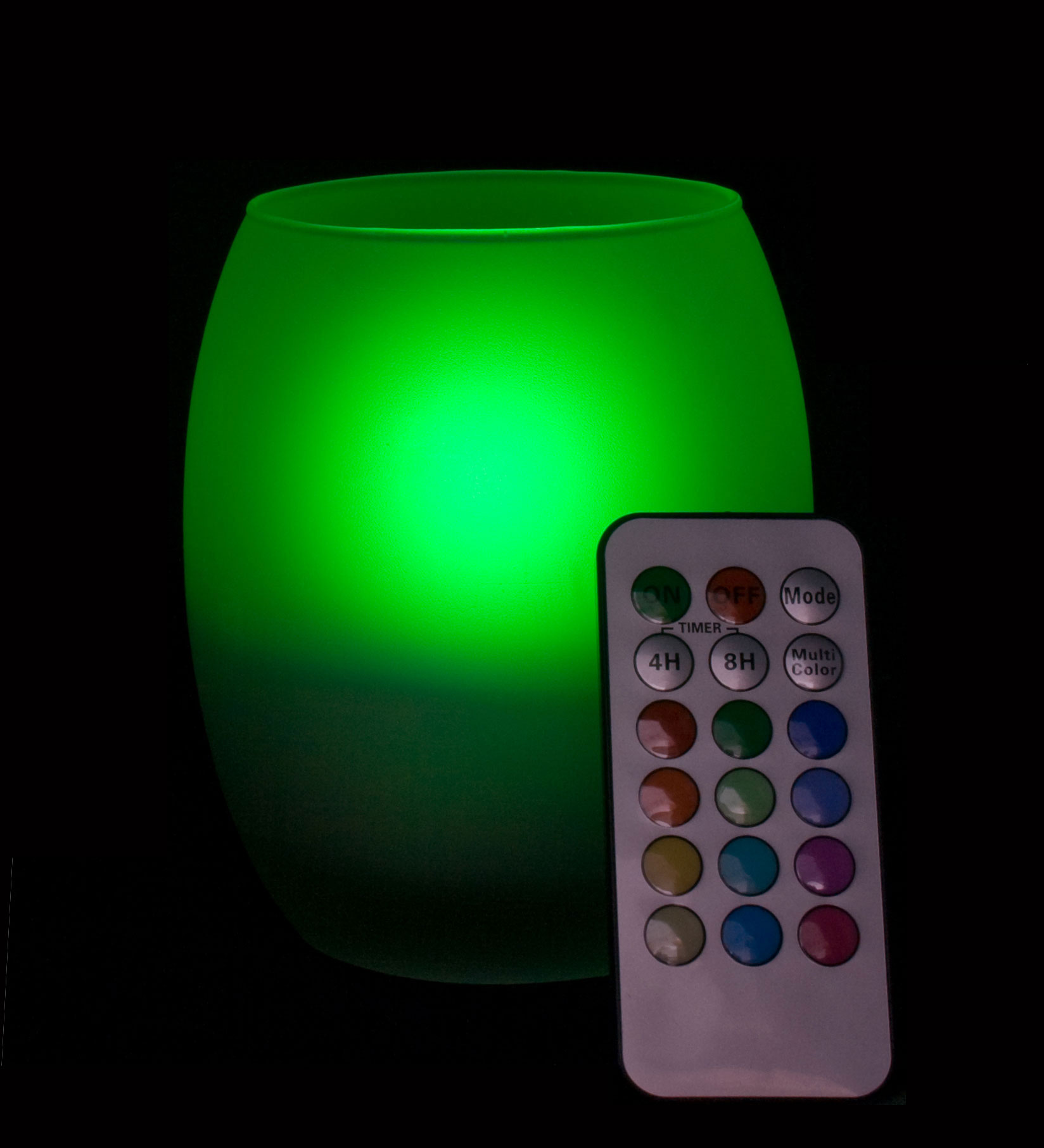 Remote Controlled Multi Color Flameless LED Candle with Oval Frosted Glass Holder