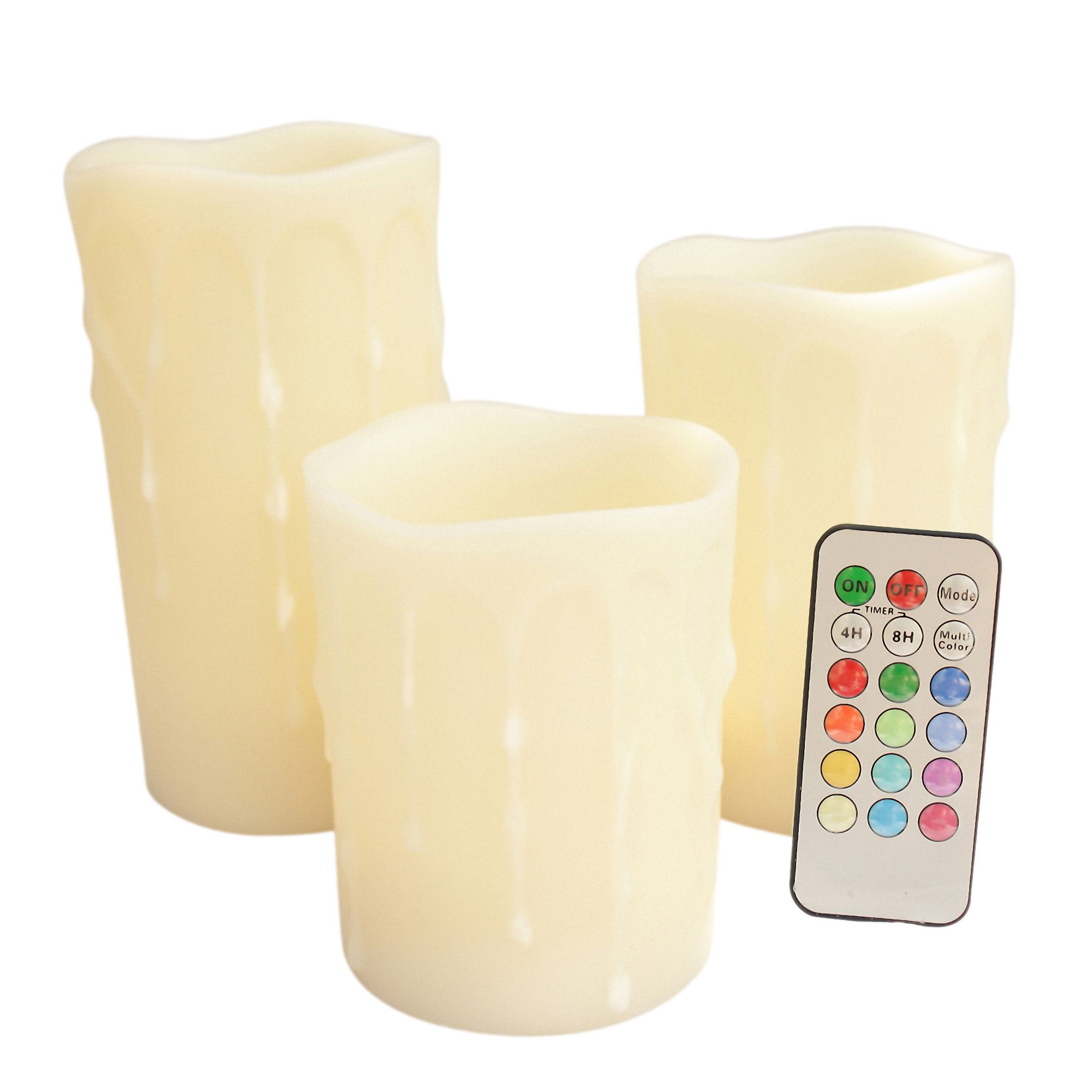 Round Melted Edge Wax Drip Effect Multi Color Flameless Wax Pillar Candles with Remote - Set of 3