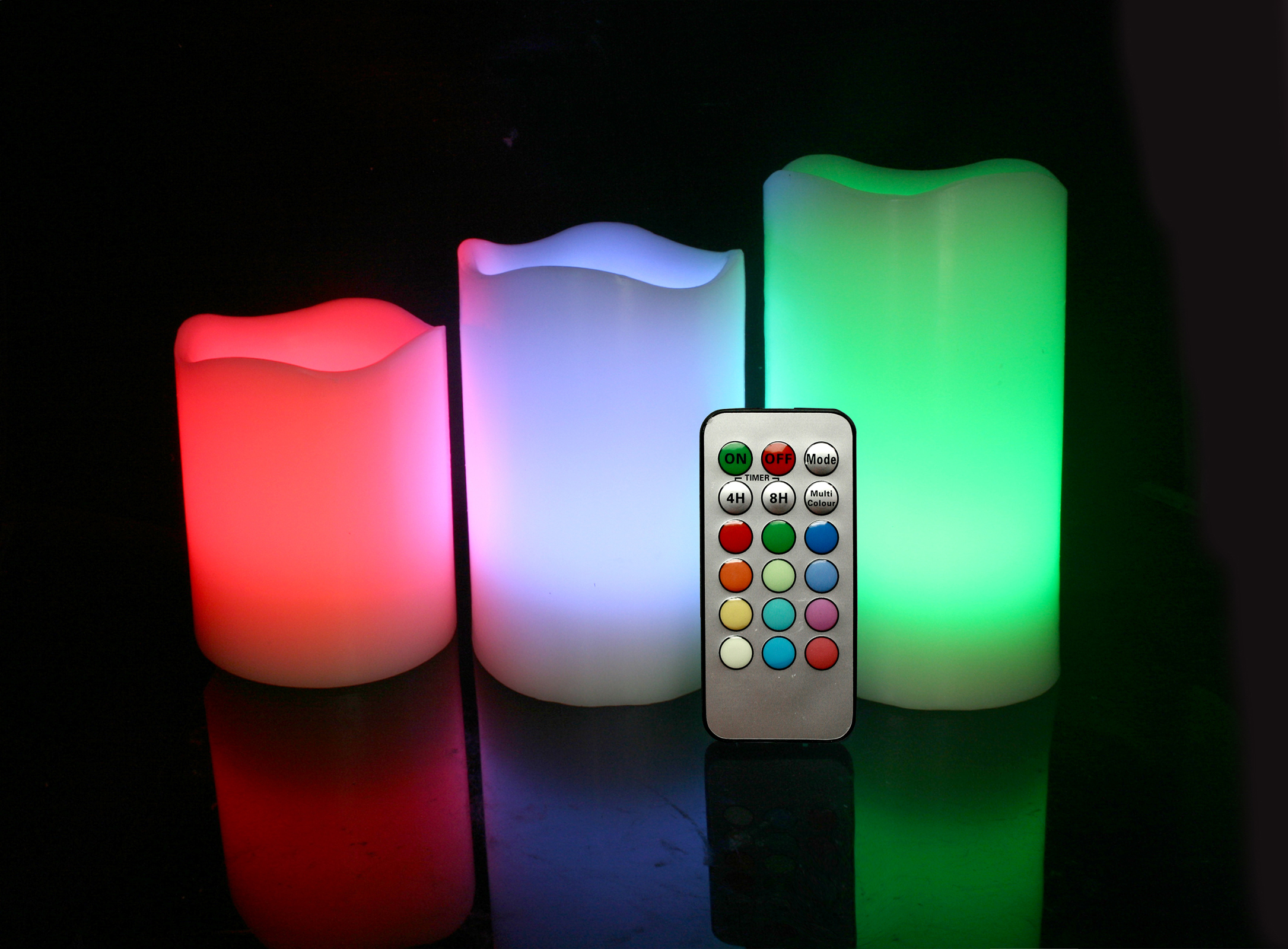 Set of 3 Round Melted Edge Remote Controlled Multi Color Changing Flameless Wax Pillar Candles