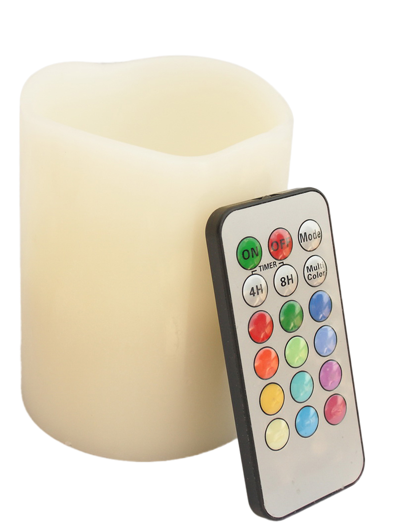 Round Melted Edge Remote Controlled Multi Color Changing Flameless Wax Pillar Candle - 4 Inch Tall