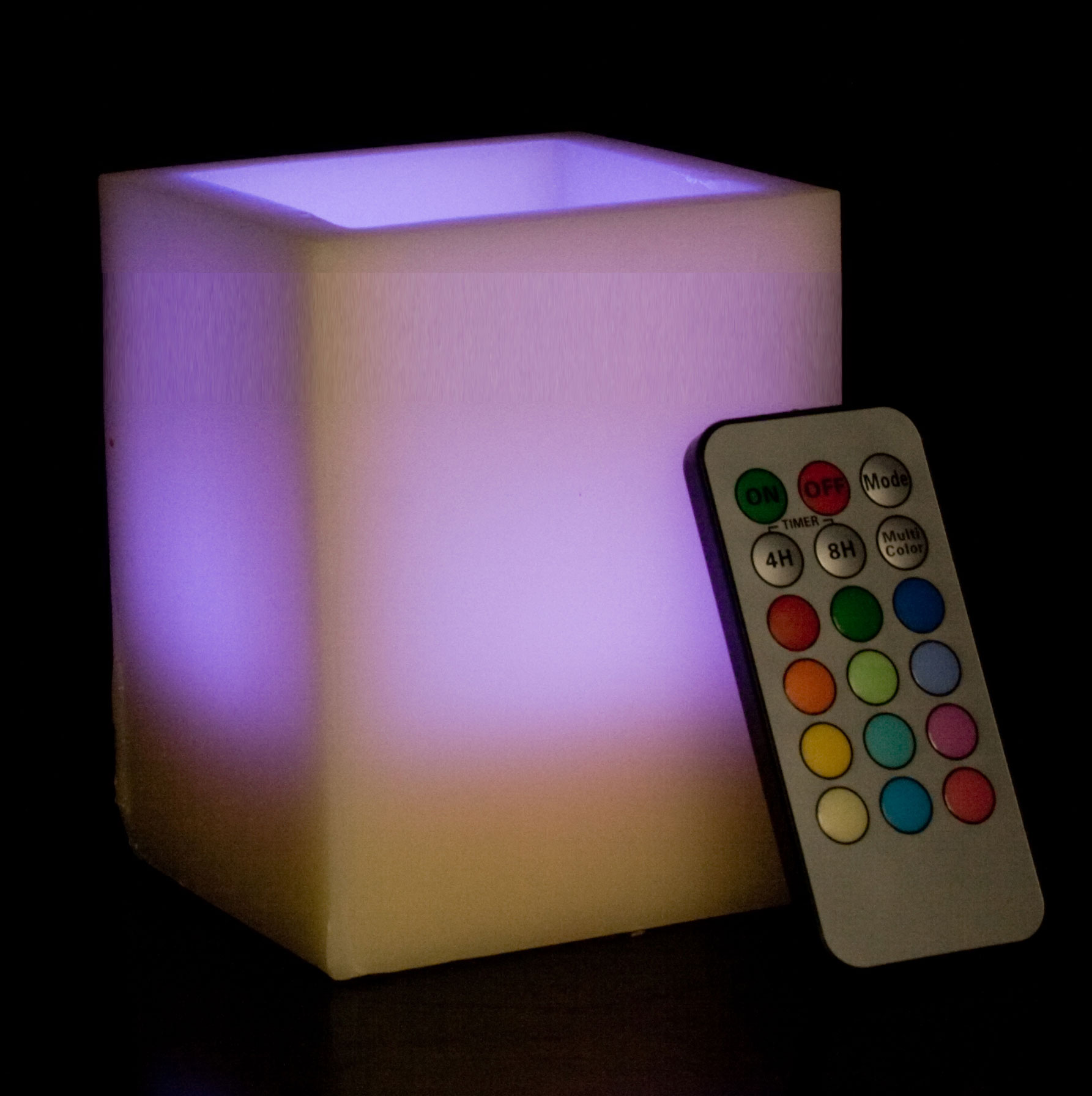 Square Smooth Edge Remote Controlled Multi Color Changing Flameless Wax Pillar Candle - 4 Inch Tall