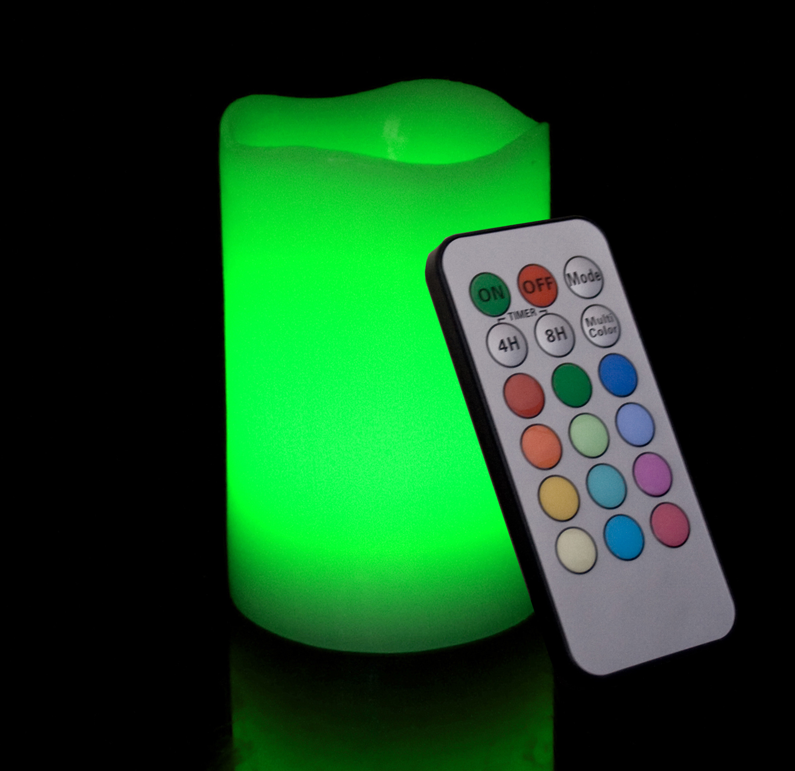 Round Melted Edge Remote Controlled Multi Color Changing Flameless Wax Pillar Candle - 5 Inch Tall