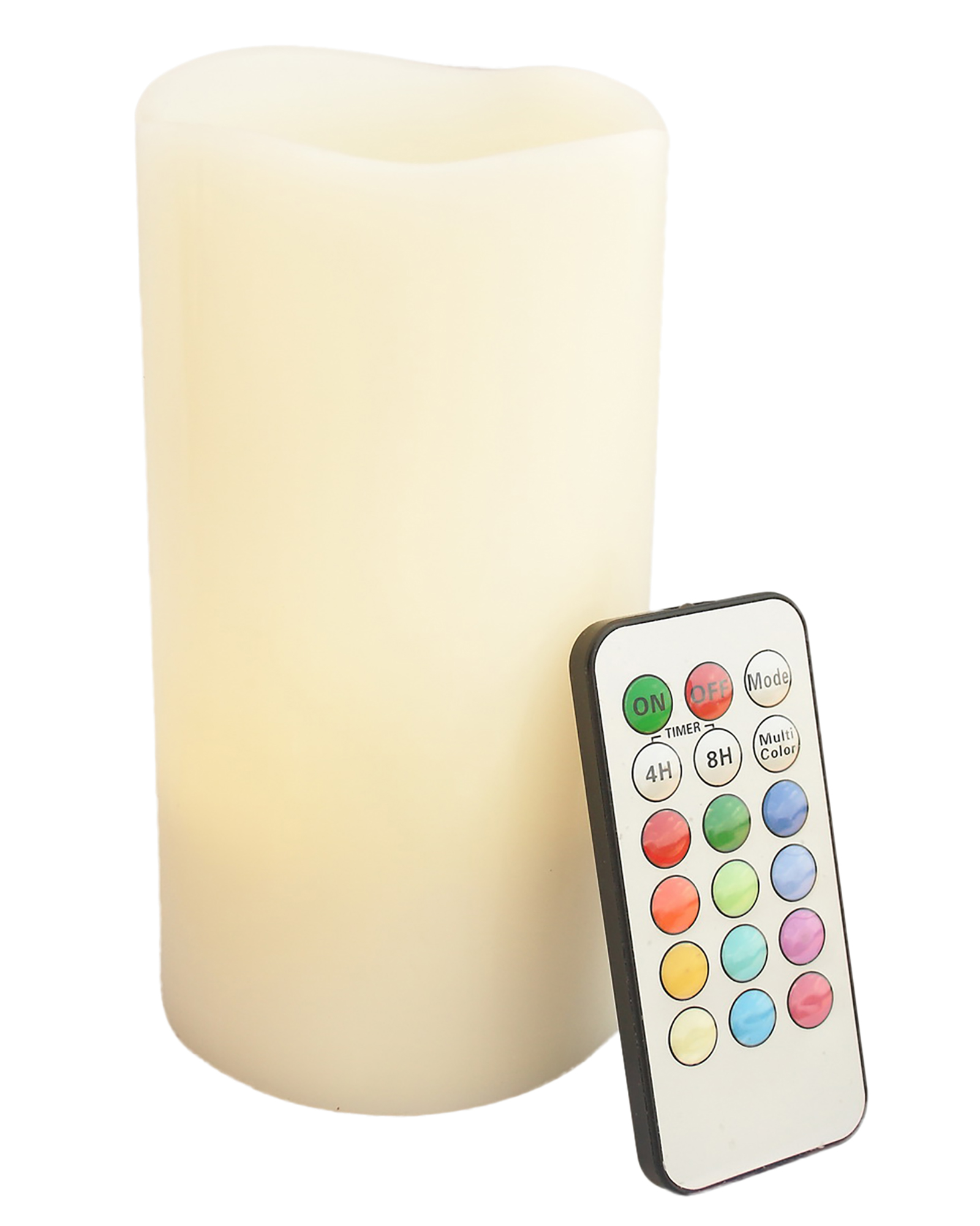 Round Melted Edge Remote Controlled Multi Color Changing Flameless Wax Pillar Candle - 6 Inch Tall