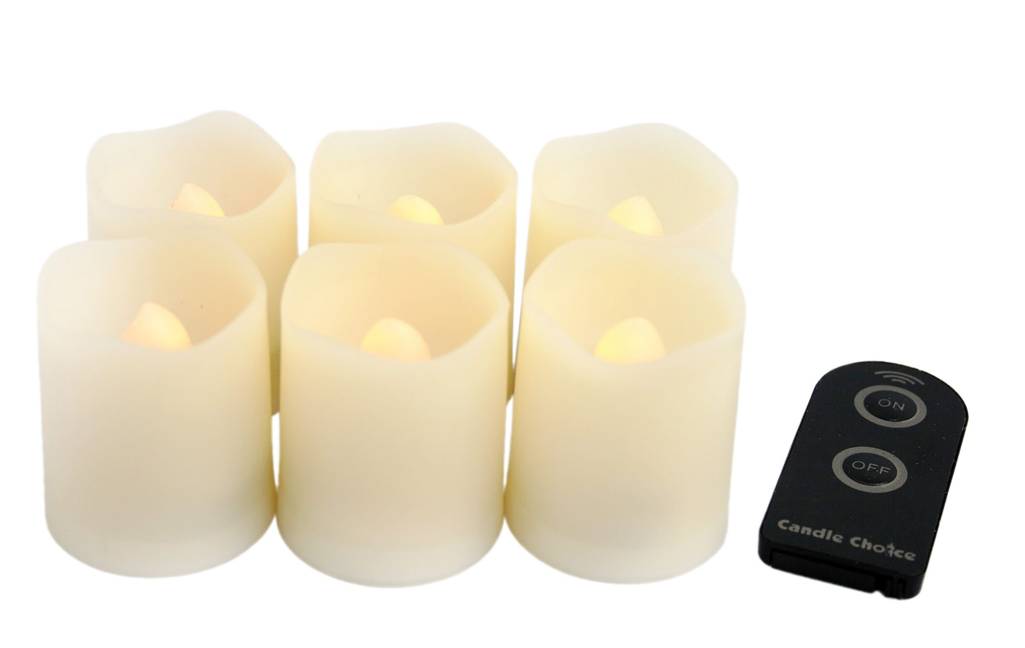 Candle Choice-Set of 6 Remote Controlled Round Melted Edge Votive Flameless LED Candles