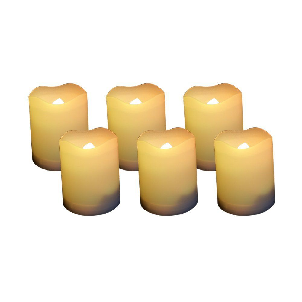 Candle Choice Set of 6 Round Melted Edge Votive Flameless LED Candles with Timer