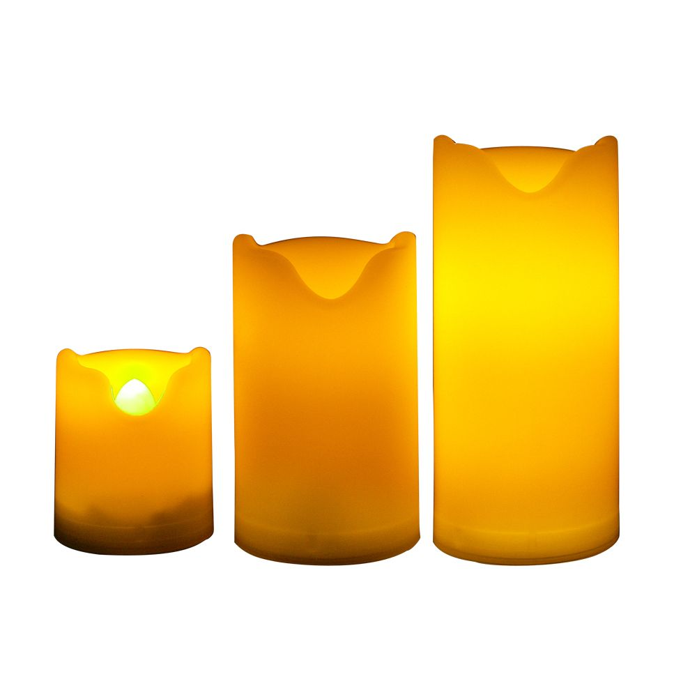 Set of 3 Flameless LED Mini Pillar Candles with Dual Timer