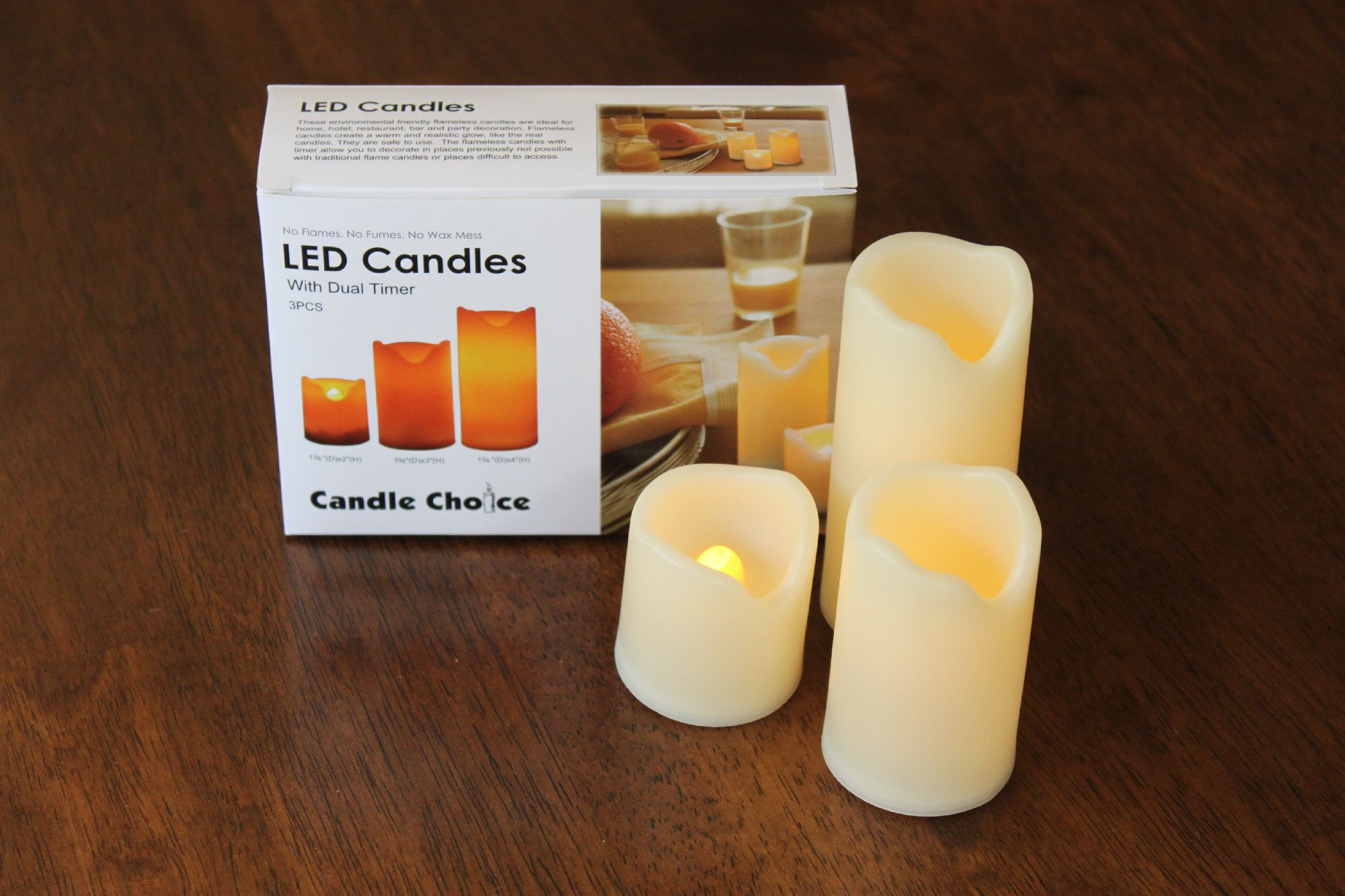 Ecogecko Set of 3 Long Lasting Indoor and Outdoor Flameless Candles with Timer, Small Size (LED Candles with Timer, Battery-operated Candles with Timer)