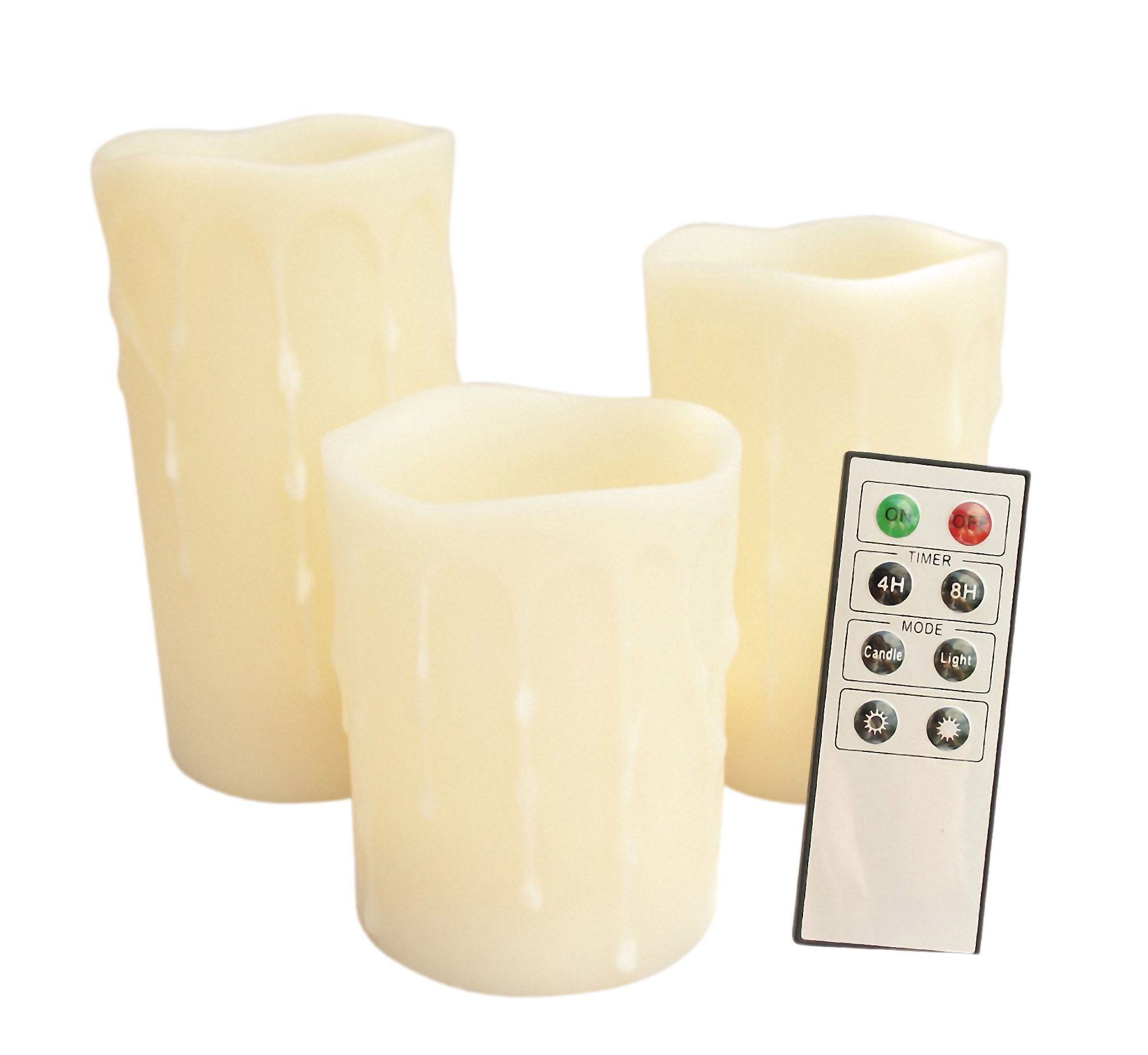 "Candle Choice Set of 3 Remote Control Flameless Wax Pillar LED Candles with Melted Edge Wax Drip Effect, Battery Operated  - 4"",5"" and 6"" tall"