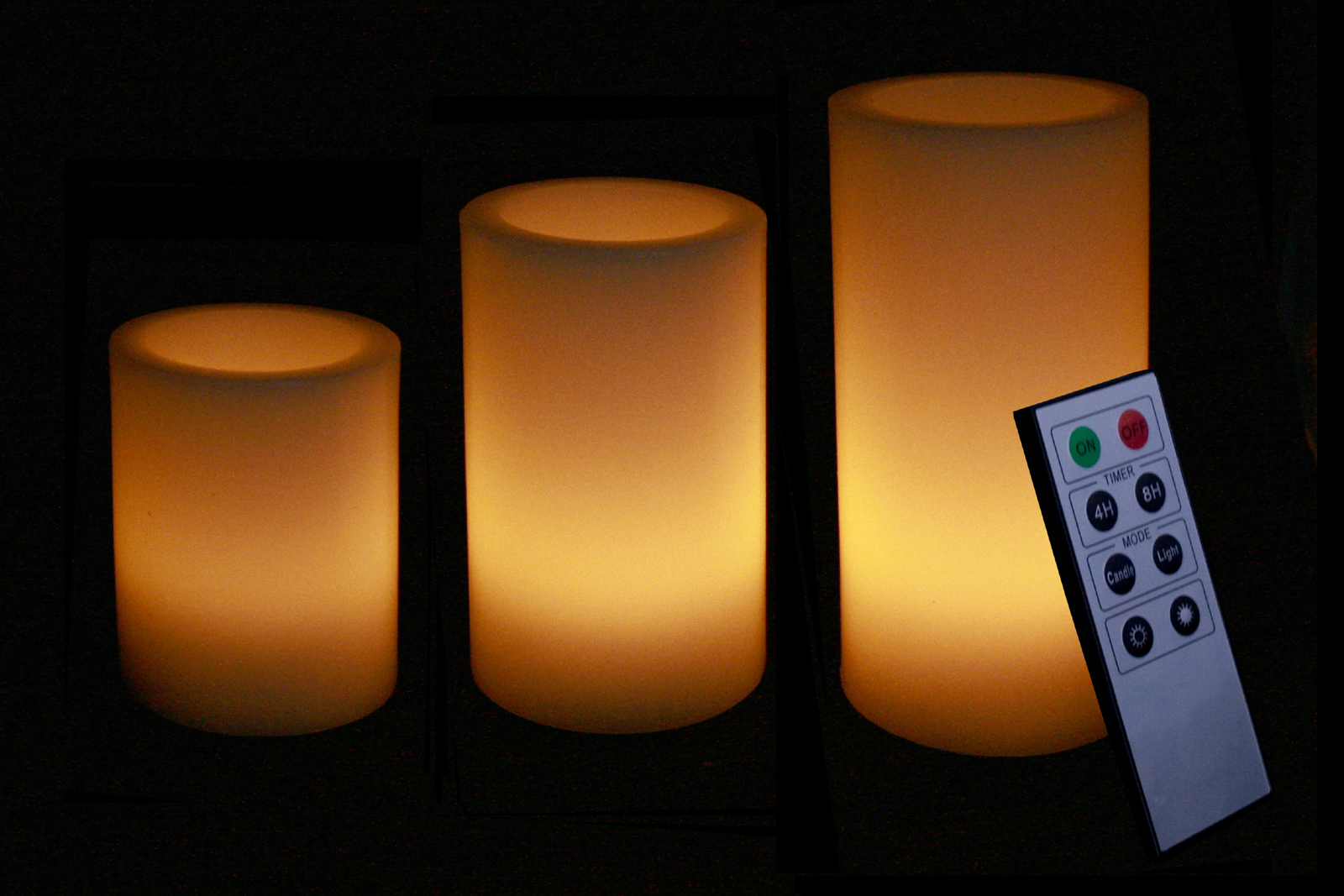 Round Smooth Edge Remote Controlled Flameless Wax Pillar Candles - Set of 3