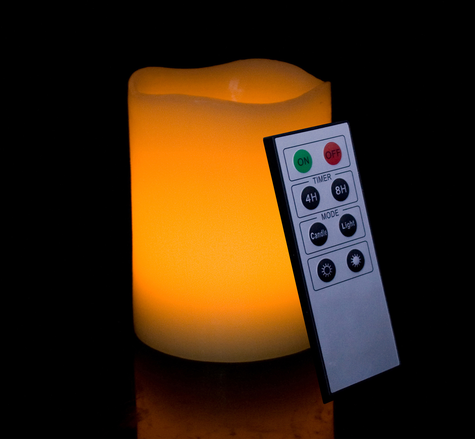 Round Melted Edge Remote Controlled Flameless Wax Pillar Candle - 4 Inch Tall