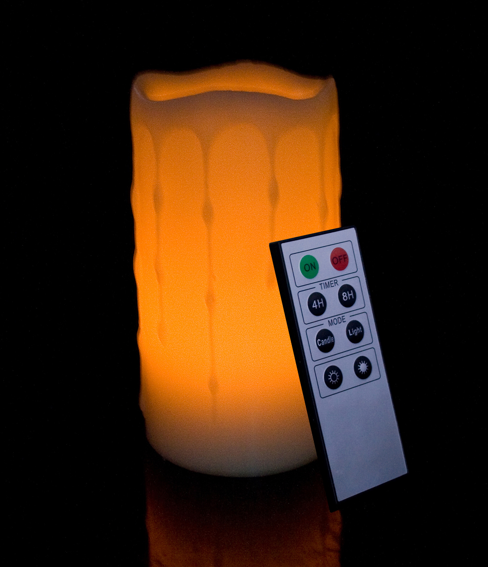 Round Melted Edge with Wax Drip Effect Remote Controlled Flameless Wax Pillar Candle - 6 Inch Tall