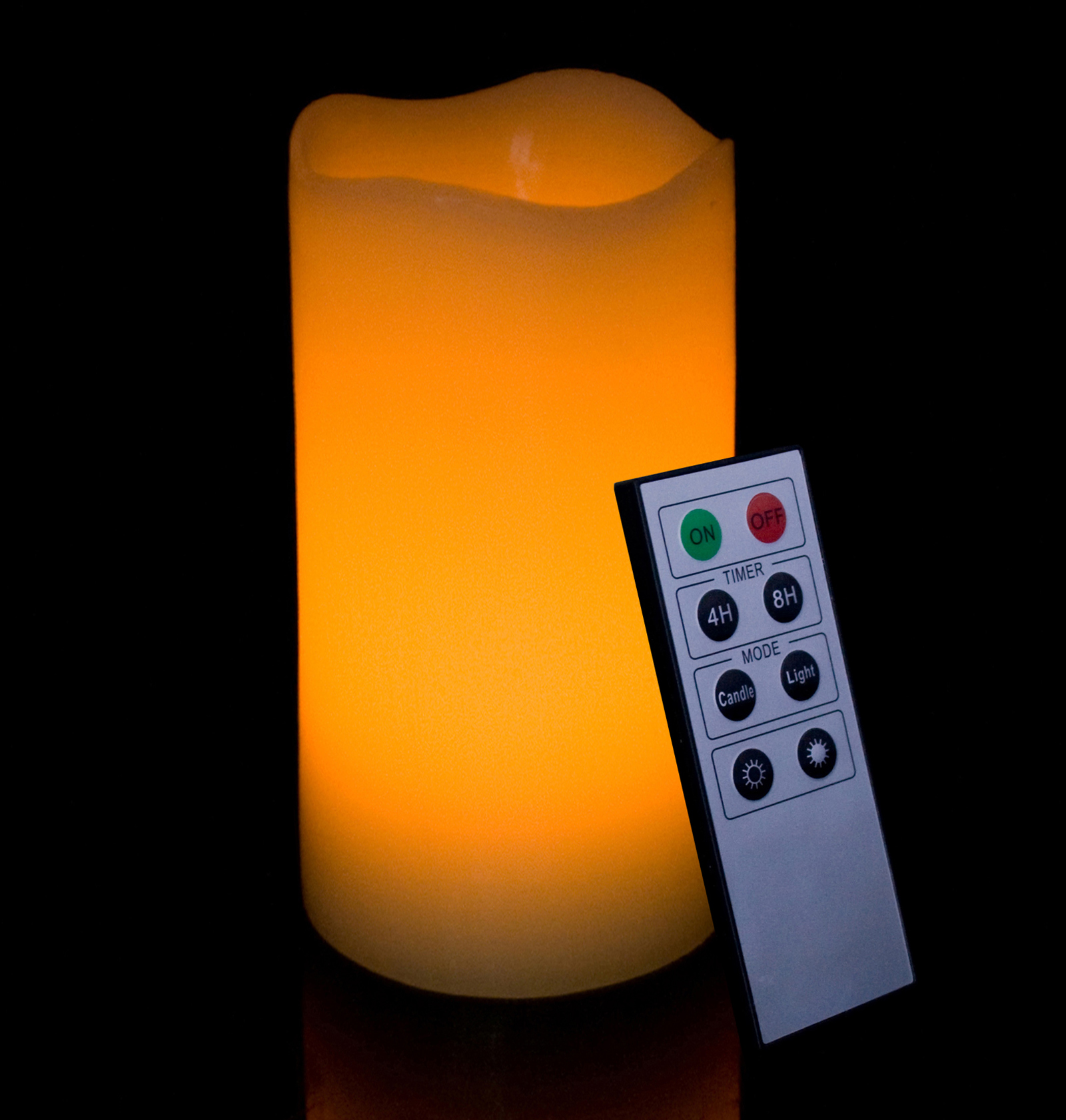 Round Melted Edge Remote Controlled Flameless Wax Pillar Candle - 6 Inch Tall