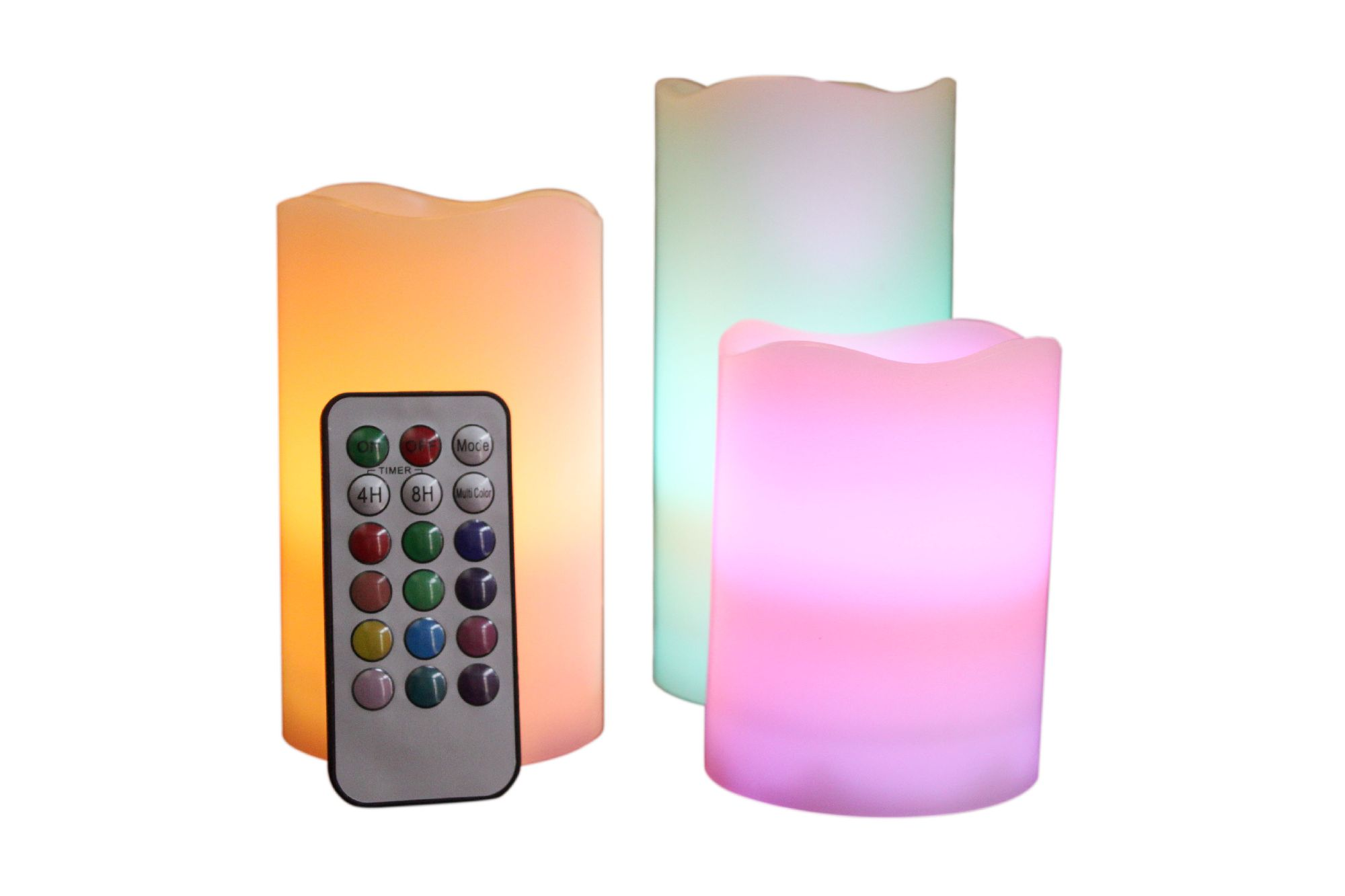 Candle Choice-Indoor/Outdoor Weatherproof Color Changing Set of 3 Candles with Remote and Timer