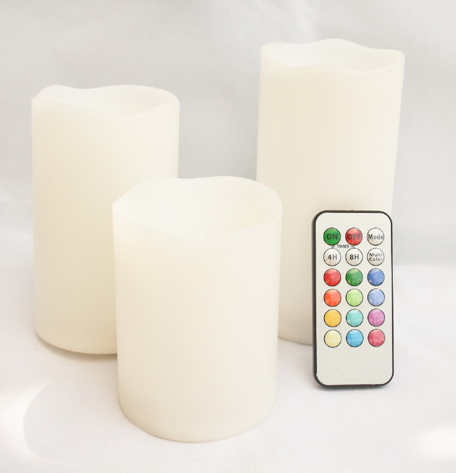 Set of 3 Round Melted Edge Remote Controlled Multi Color Changing Flameless Pillar Candles