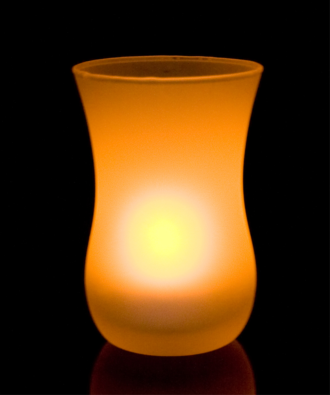 Shake On and Blow Out Flameless LED Candle with Frosted Glass Vase Holder