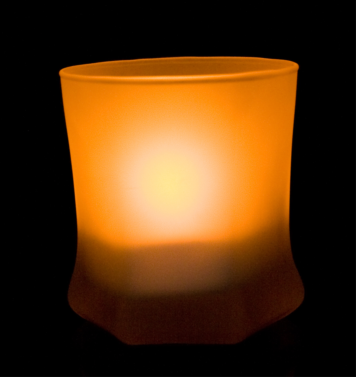 Shake On and Blow Out Flameless LED Candle with Round Smooth Edge Hexagon Base Frosted Glass Holder