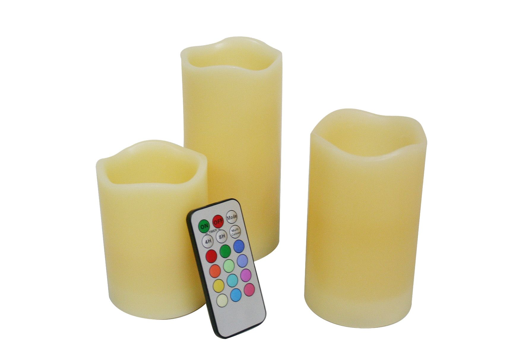 Candle Choice Set of 3 Real Wax Multi-Color Flameless Candles with Remote Control Timer, Ivory