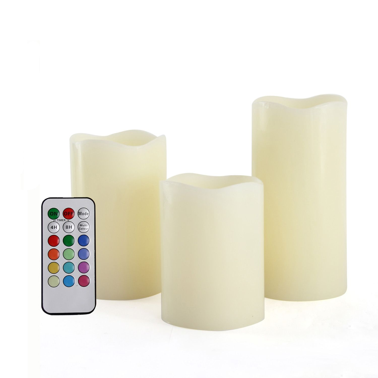Round Melted Edge Remote Controlled Multi Color Changing Flameless Wax Pillar Candles - Set of 3