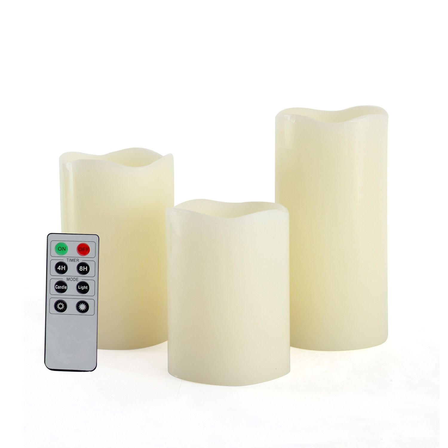 Candle Choice Set of 3 Real Wax Flameless Candles with Remote Control Timer- Light Ivory
