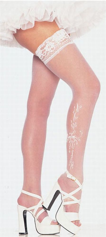 Leg Avenue Bow Sheer Lace Top Thigh High With Floral Pattern at Sears.com