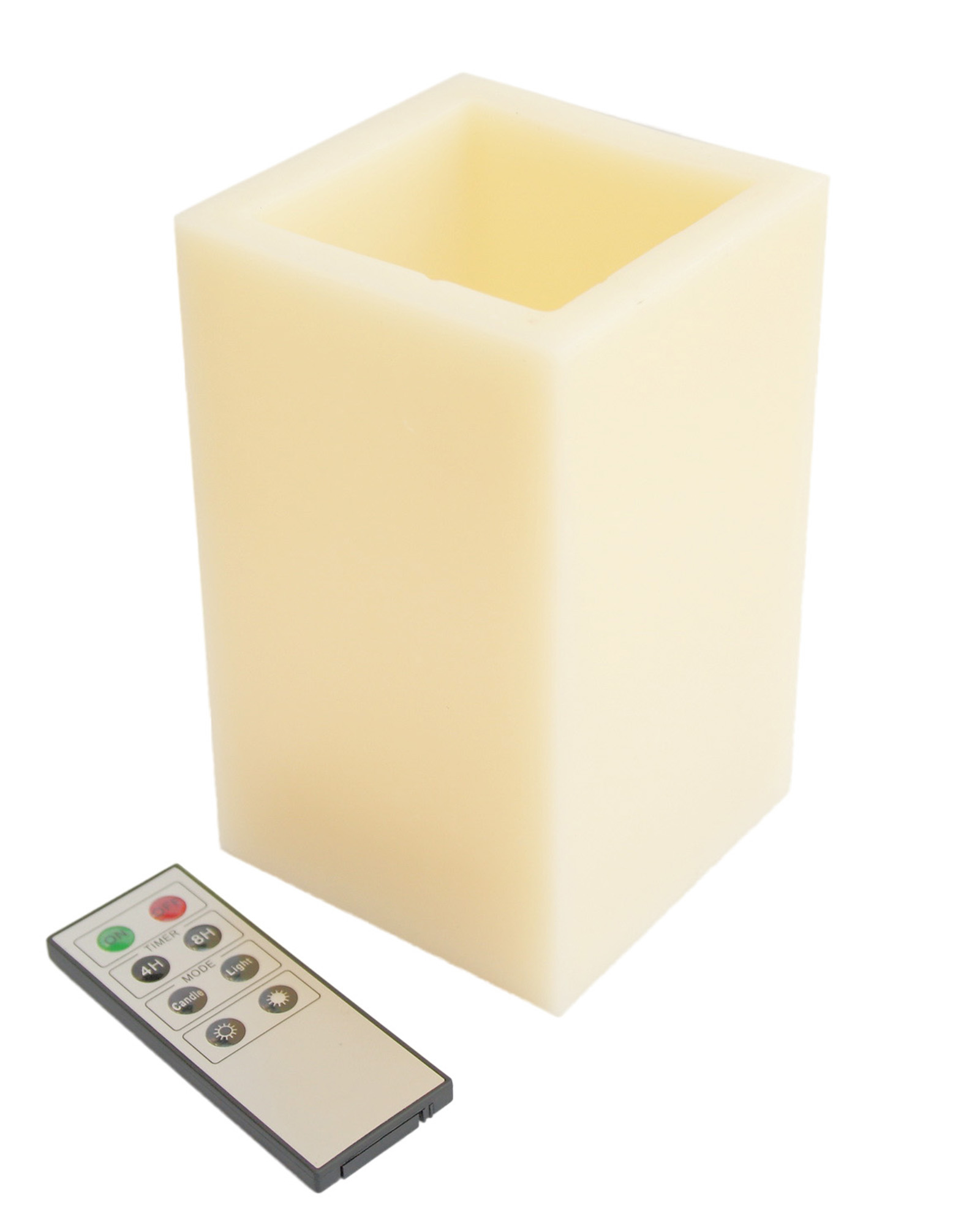 Square Smooth Edge Remote Controlled Flameless Wax Pillar Candle - 6 Inch Tall
