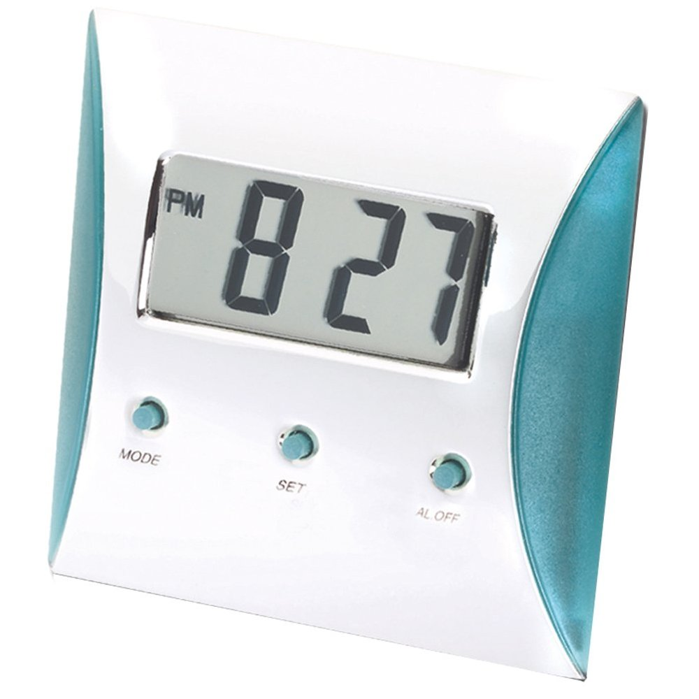 Polished Silver LCD Alarm Clock With Turquoise Trim