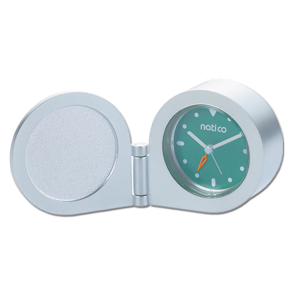 Natico Originals Matte Silver Round Travel Clock w/Alarm