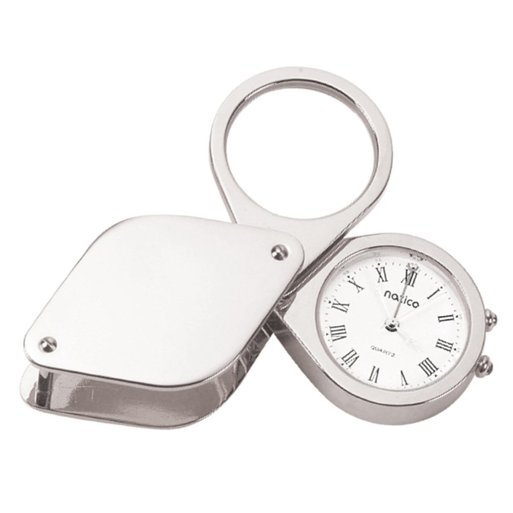 Silver Alarm/Magnifier with Leather Travel Case
